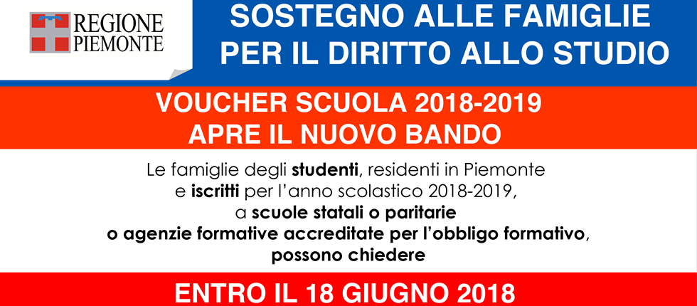 """Aperto il bando """"Voucher Scuola 2018-2019"""". Aiuti economici per il Diritto allo Studio."""