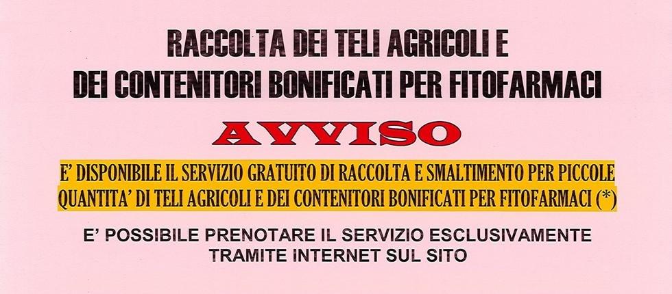 Raccolta dei teli agricoli e dei contenitori bonificati per fitofarmaci.