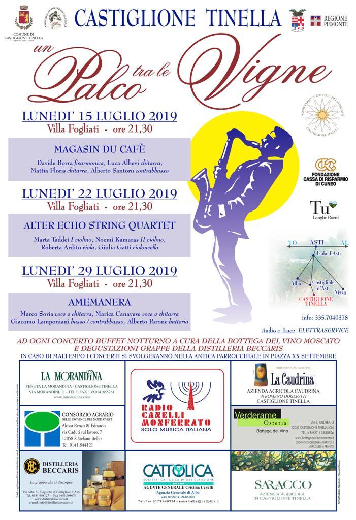 Programma Un Palco tra le Vigne 2019 Castiglione Tinella.