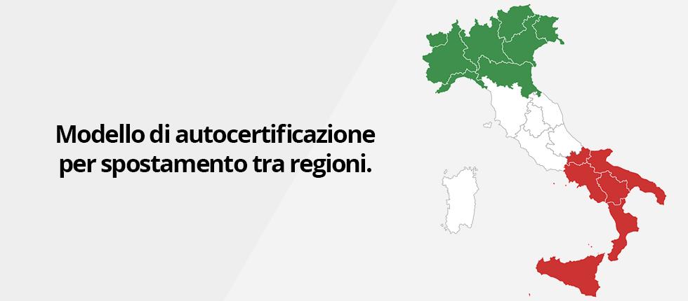 Modello di autocertificazione per spostamento tra regioni.